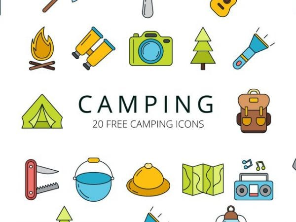 Set Of 20 High-quality Free Camping Icons