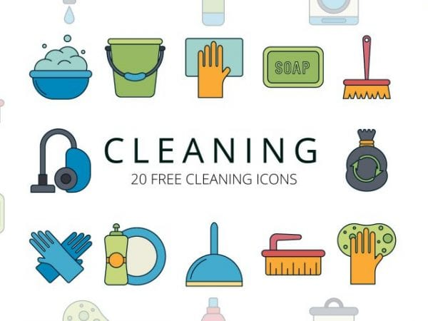 Set Of 20 High-quality Free Cleaning Icons