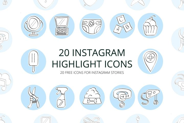 Set Of 20 Highlight Free Instagram Icons - Mockup Free Downloads
