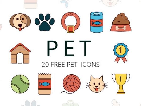 Set Of 20 Quality Free Pet Icons