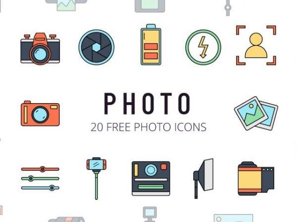 Set Of 20 beautiful Free Photo Icon
