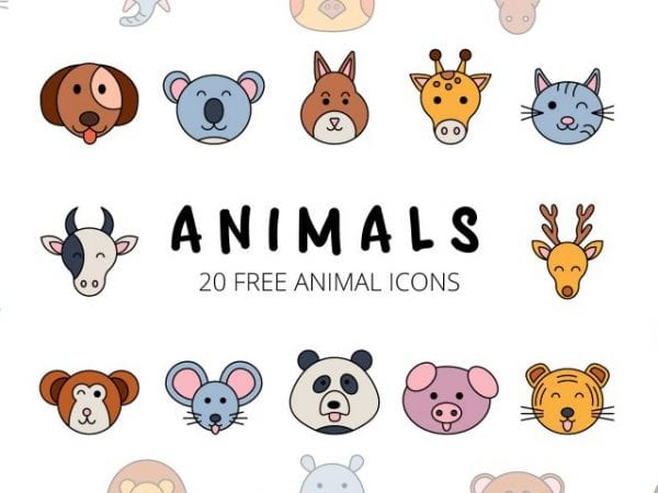 Set Of 20 beautiful animal icon