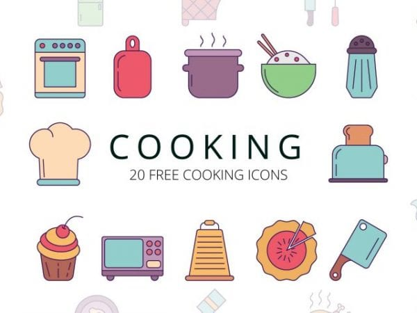 Set Of 20 high-quality Free Cooking Icons