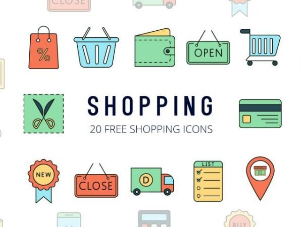 Set Of 20 high-quality Shopping free icons