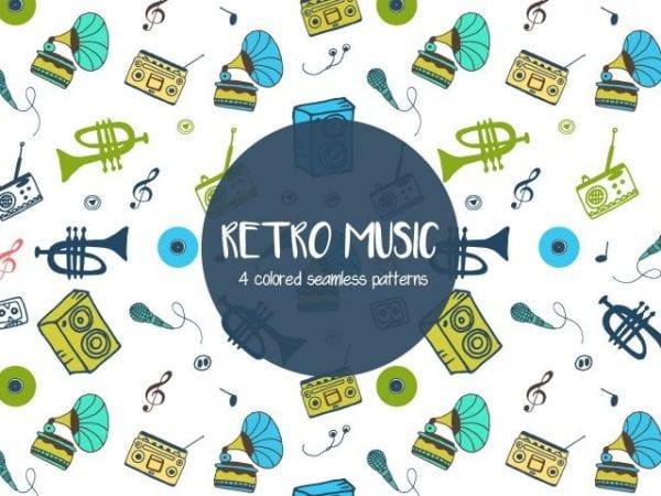 Set Of 4 Colored Retro Music Pattern