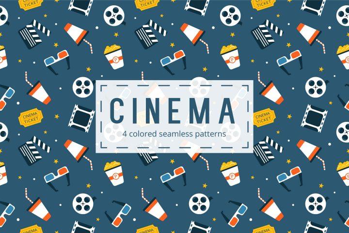 Set Of 4 colored Cinema Seamless Pattern