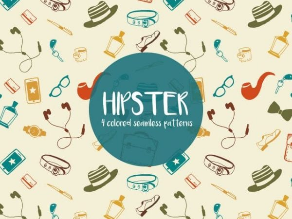 Set Of Hipster Illustration Seamless Patterns