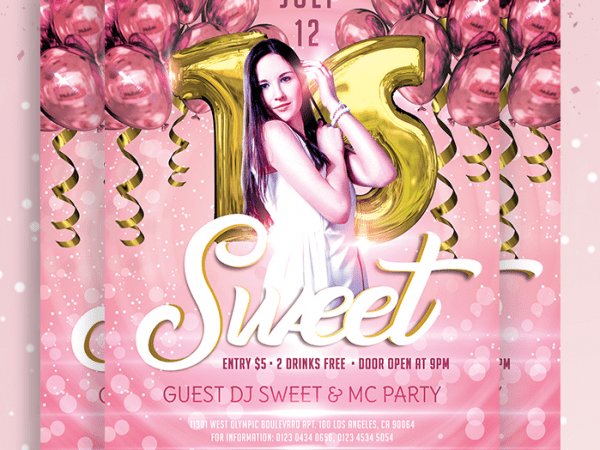 Sweet 16 Birthday Party Flyer PSD Template