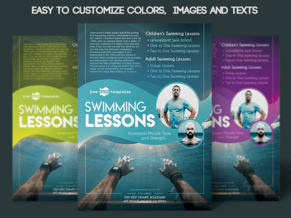 Swim Lesson Flyer PSD MockUp Template