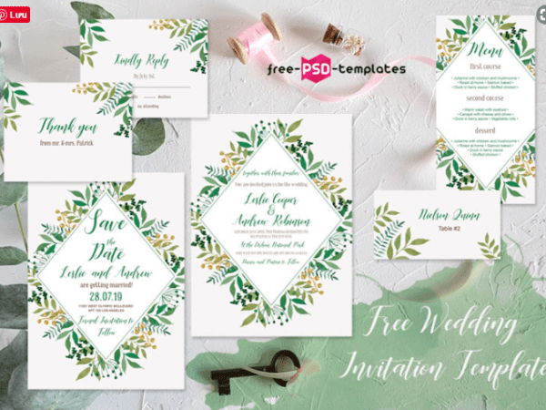 Watercolor Leaves Wedding Invitations Bundle