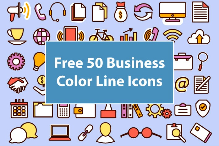 Free 50 Business Color Line Icons Free PSD Templates