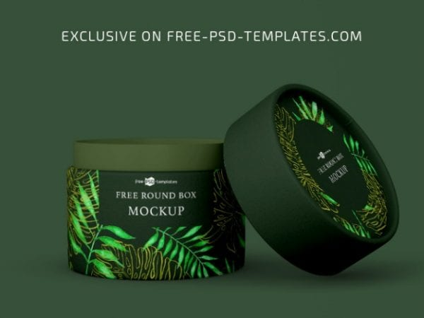 Free Round Box Mockup Set Free PSD Templates