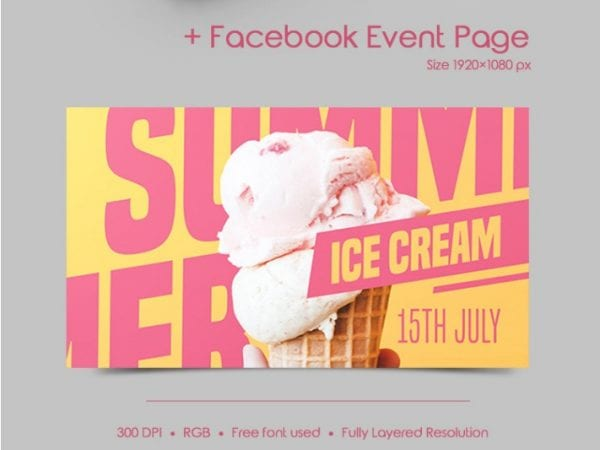 Free Summer Ice Cream Flyer in PSD Free PSD Templates