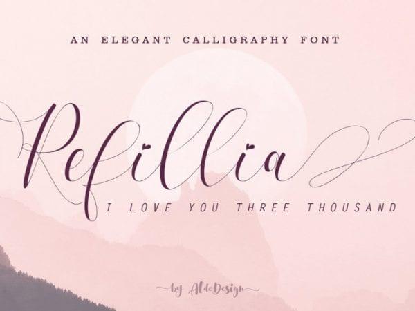 refillia-calligraphy-font