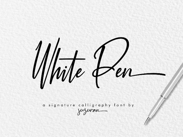 white-pen-script-font