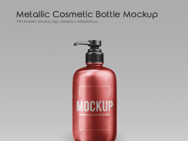 Metallic Cosmetic Bottle Free PSD Mockup