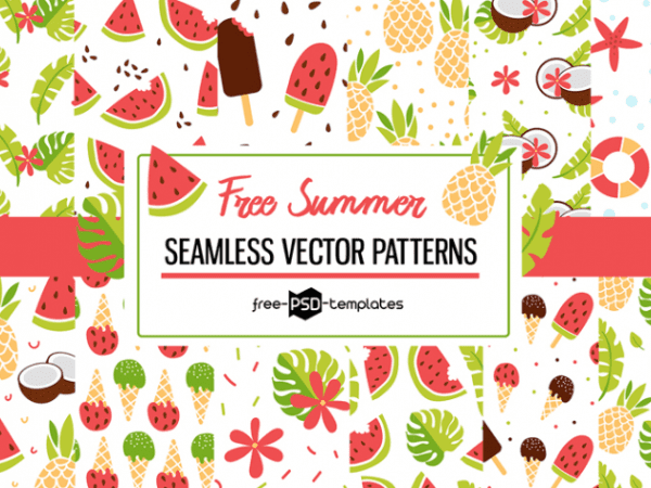 free vector summer patterns set