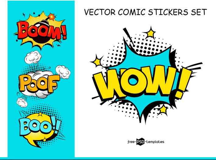 vector comic stickers set