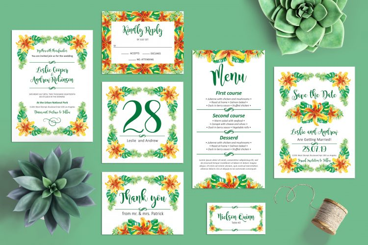 What To Include In A Wedding Invitation Pack: Tropical Wedding Invitation Free Template Package